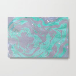 Mauve and Teal Marble Pattern Metal Print