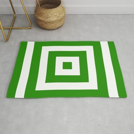 Abstract geometric pattern - green and white. Rug