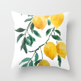 yellow lemon 2018 Throw Pillow