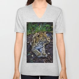 Endangered Amur Leopard Cub by Reay of Light Unisex V-Neck
