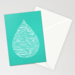 Water Drop – White on Turquoise Stationery Cards