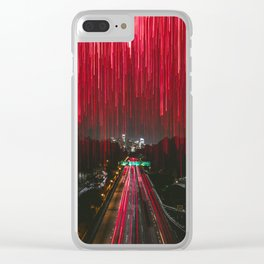 Lights and the LA Skyline at Night Clear iPhone Case