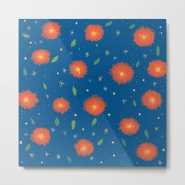Blue orange pattern Metal Print
