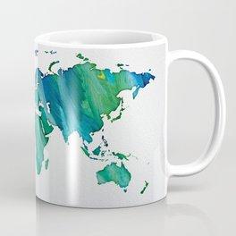 Blue & Green World Map Coffee Mug