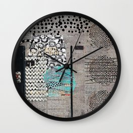 Grey Teal Abstract Art  Wall Clock