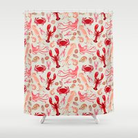 Crustaceans sea life illustration by Andrea Lauren Shower Curtain