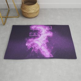 Indian Rupee sign, Indian Rupee symbol. Monetary currency symbol. Abstract night sky background. Rug