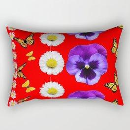 PURPLE PANSIES, WHITE DAISIES, MONARCH BUTTERFLIES RED ART Rectangular Pillow