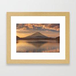 Mount Fuji and Lake Shoji in Japan at sunrise Framed Art Print