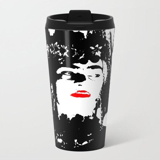 Freeda my Frida Black and White Metal Travel Mug