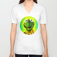 muppets V-neck T-shirts featuring The Muppets- Kermit the Frog by Kristin Frenzel