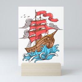Ship Sail To The Sea  sailor and boatman sea tattoo lover gift Mini Art Print