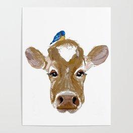Bluebird Cow Poster