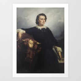Edouard-Louis Dubufe PORTRAIT OF ROSA BONHEUR WITH A BULL Art Print