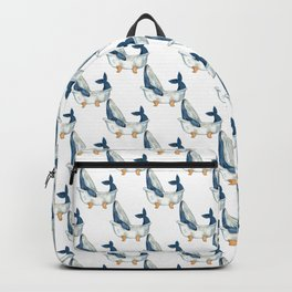 Humpback whale taking bath watercolor Backpack