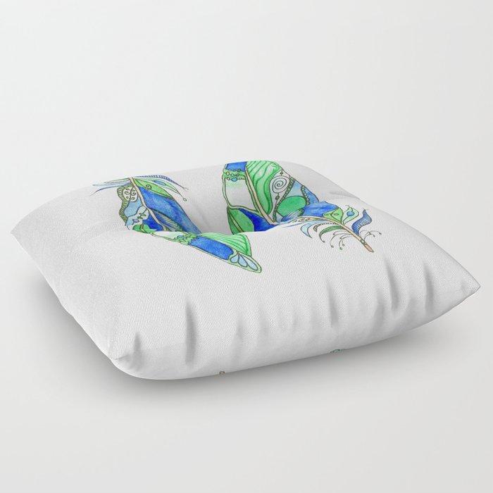 Bohemian Spirit Feathers - Blue & Green Floor Pillow