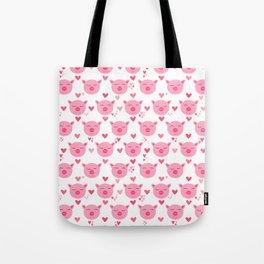 Cute Pink Piggy Faces Pig Pattern Tote Bag