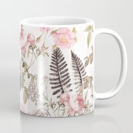 Vintage & Shabby Chic - Blush Roses and Fern Leaf Coffee Mug