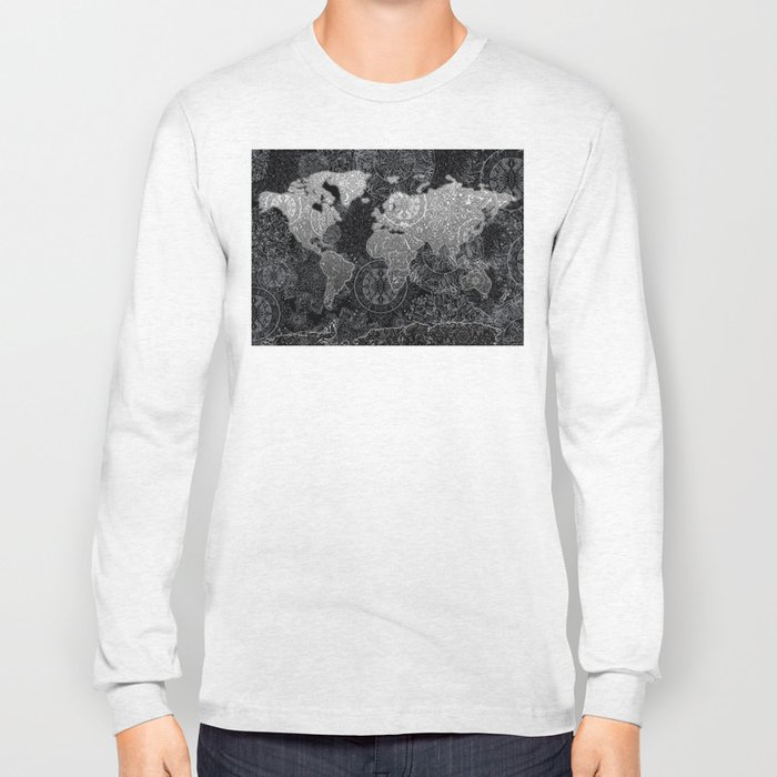world map mandala black and white 3 Long Sleeve T-shirt