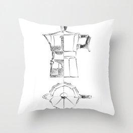 Coffee pot blueprint sketch  Throw Pillow