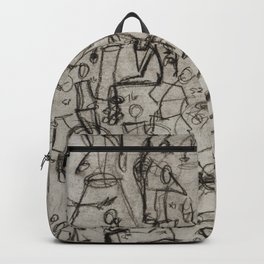 Charcoal Sketch Party People (diptych, part 2) Backpack