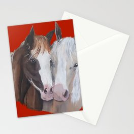 Horses Snuggle on Red Stationery Cards