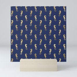 Blue & Gold Cute Seahorse Pattern Mini Art Print