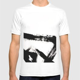 Brushstroke [8] - a simple, abstract, black and white india ink piece T-shirt