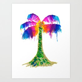 Rainbow Palm Tree Art Print