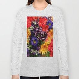 red geraniums flowers floral bouquet Long Sleeve T-shirt