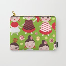 Seamless pattern spanish Woman flamenco dancer. Kawaii cute face with pink cheeks and winking eyes. Carry-All Pouch