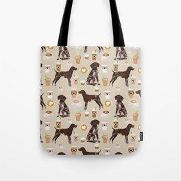 German Shorthair Pointer dog breed custom pet portrait coffee lover pet friendly gifts Tote Bag