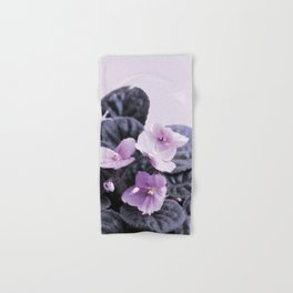 Saintpaulia flower on pink pastel background Hand & Bath Towel