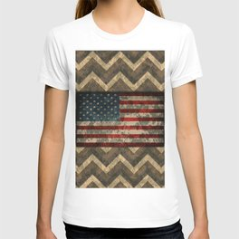 Brown Military Digital Camo Pattern with American Flag T-shirt
