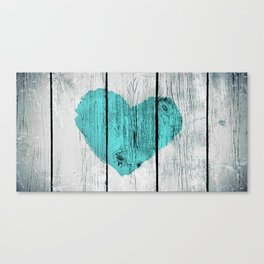 Teal Rustic Heart on Country Wood Canvas Print