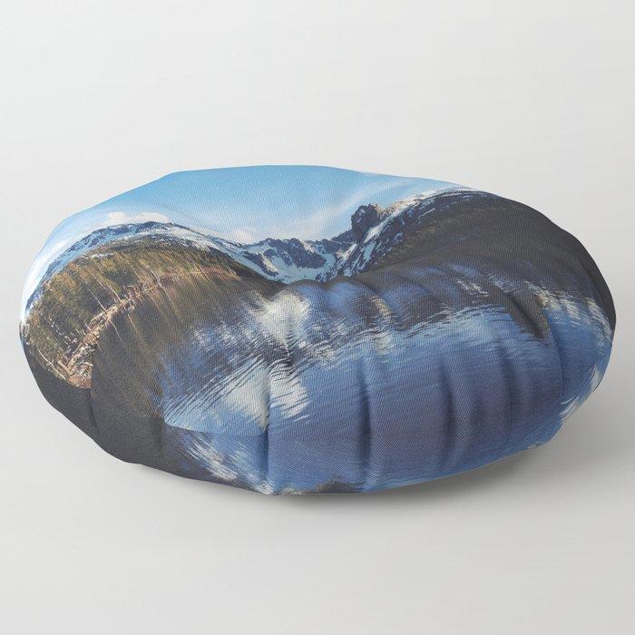 Snowy Peak and Lake Floor Pillow