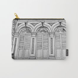 B&W Victorian Styled Shop Houses Carry-All Pouch