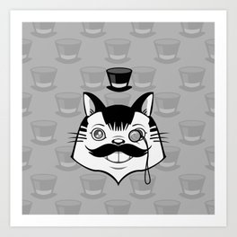Sir Monocle Kitteh Art Print