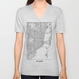 Miami White Map Unisex V-Neck