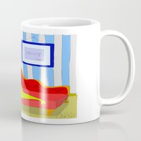 "matisse Mugs featuring ""Stealing Matisse"" (Picasso Watching) by correia creative"