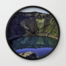 Kerid Crater Lake in Iceland Wall Clock