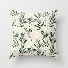 OLIVE BLOOM Throw Pillow