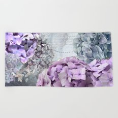 Vintage Flower Hydrangea Hortensia Collage Beach Towel