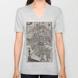 PARIS Old map Unisex V-Neck