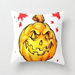 Scary pumpkim face Throw Pillow
