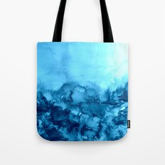 INTO ETERNITY, TURQUOISE Colorful Aqua Blue Watercolor Painting Abstract Art Floral Landscape Nature Tote Bag