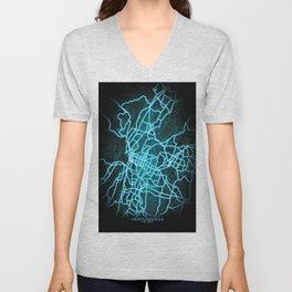 Chattanooga, TN, USA, Blue, White, Neon, Glow, City, Map Unisex V-Neck