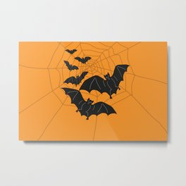 Flying Bats orange Metal Print