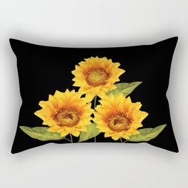 Three Sunflowers black Background Rectangular Pillow