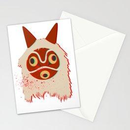 Glitch Princess Mononoke Mask With Blood Splashes Stationery Cards